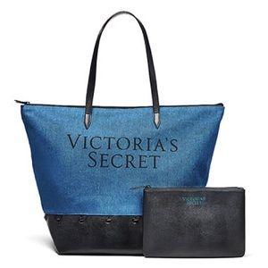 Victoria's Secret carryall and denim tote